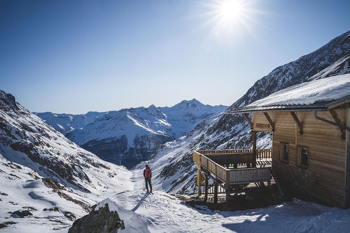 Ski tour in winter
